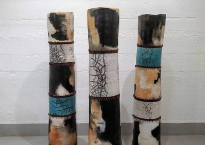 Three Ceramic Pieces, Tall Of Various Colors Decorated