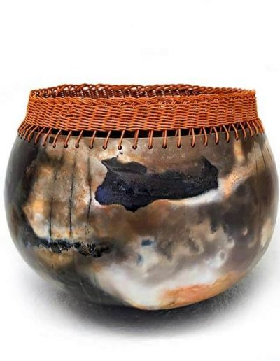 Ceramic Object - Smoke Firing and braided reed